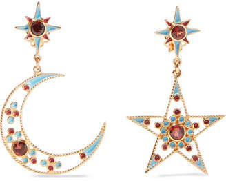Papi Percossi Gold-plated And Enamel Garnet Earrings - Turquoise