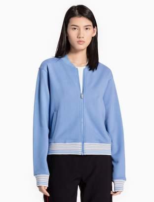 Calvin Klein cotton knit striped bomber jacket