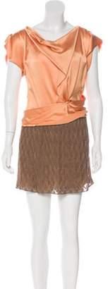 Missoni Satin-Paneled Mini Dress Orange Satin-Paneled Mini Dress
