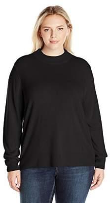 Sag Harbor Women's Plus Size Long Sleeve Low Mock Neck Ideal Cashmerlon Sweater