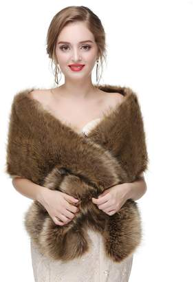Ikerenwedding Women's Thicken Faux Fur Wedding Shawl Scarf Wraps for Evening/Party/Show