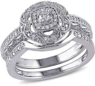 MODERN BRIDE 1/3 CT. T.W. Diamond Sterling Silver Vintage Style Bridal Set