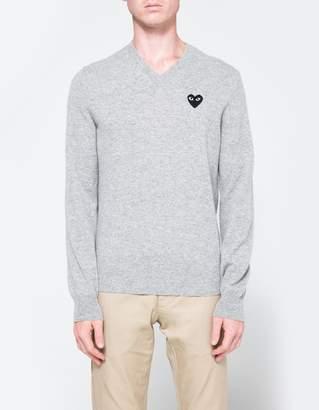 Comme des Garcons Play V-Neck Pullover in Light Grey