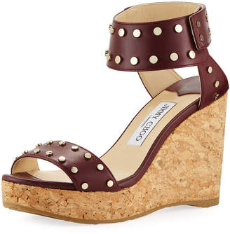 Jimmy Choo Nelly 100mm Leather Cork Platform Wedge Sandals