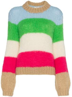 Ganni multicoloured Julliard stripe mohair wool-blend jumper