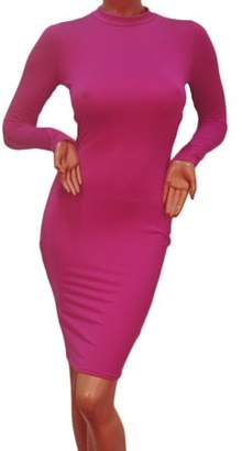 Sunrain New Women Long Sleeve Backless Bandage Bodycon Cocktail Club Party Sexy Dress Rose Red M