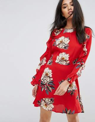 AX Paris Red Floral Skater Dress With Frill Detail