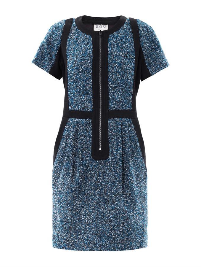 Sea Tweedy dots wool dress