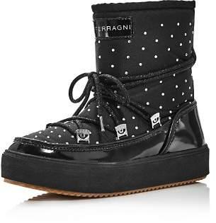 Chiara Ferragni Women's Round Toe Rhinestone Studded Snow Boots