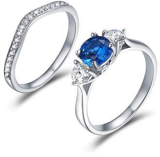 WOSTU Solitaire Rings Anniversary Promise Wedding Band Engagement Ring Bridal Sets Platinum-plated