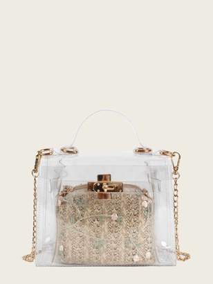 Shein Clear Bag With Embroidered Inner Clutch
