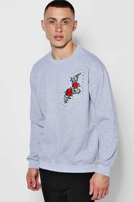 boohoo Crew Neck Sweat One Side Floral Embroidery