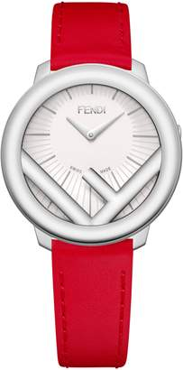Fendi Run Away Leather Strap Watch, 36mm