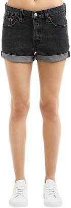 Levi's 501 Stretch Black Washed Denim Shorts