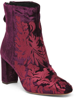 Made In Brazil Embroidered Velvet Booties