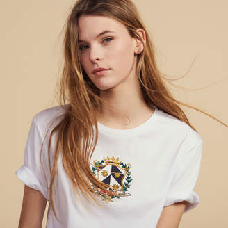 Sandro Cropped T-Shirt With Embroidery