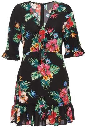 Quiz Black Floral Print Tie Front Dress