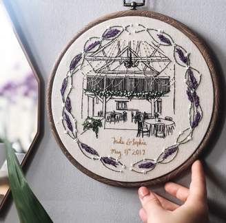 House O'Fellows Personalised Hand Embroidered Wedding Venue Portrait