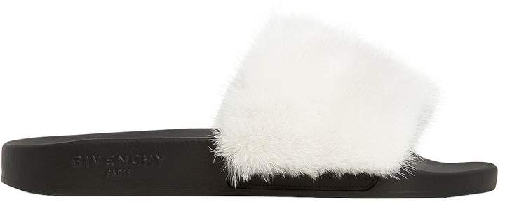 Mink Fur Rubber Slide Sandals