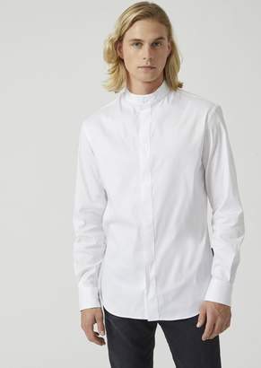 Emporio Armani Slim Fit Stretch Twill Shirt With A Mandarin Collar