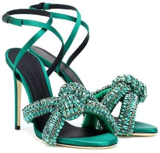 Marco De Vincenzo Crystal embellished satin sandals