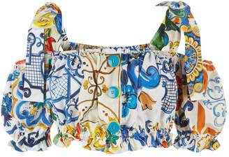 Dolce & Gabbana Majolica Off-The-Shoulder Crop Top