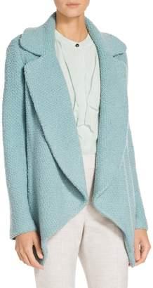 St. John Plush Boucle Knit Notch Collar Waterfall Jacket