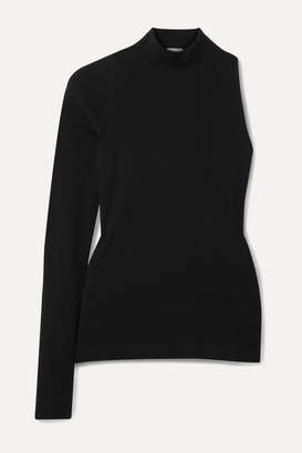 Rosetta Getty One-sleeve Cotton-jersey Turtleneck Top - Black