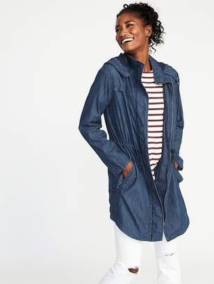 Old Navy Hooded Long-Line Chambray Utility Jacket for Women