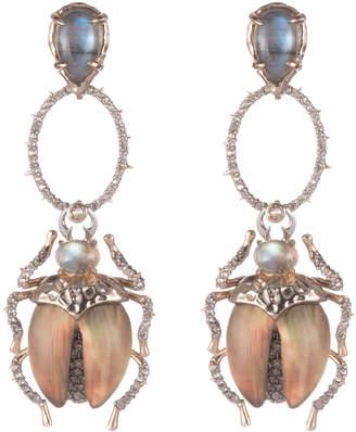 Alexis Bittar Crystal Encrusted Dangling Scarab Post Earring