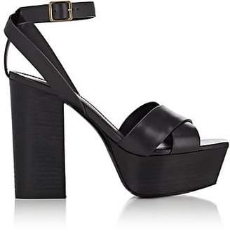 Saint Laurent Women's Farrah Leather Platform Sandals - Gray