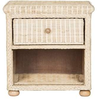 Safavieh Adira Wicker One Drawer Nightstand, Natural White Wash