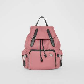 Burberry The Medium Rucksack in Puffer Nylon and Leather, Pink