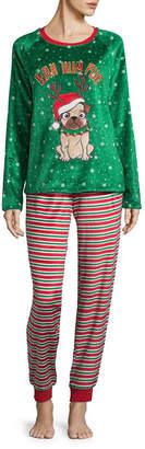 Asstd National Brand Peace, Love, and Dreams Holiday Novelty Pant Pajama Set