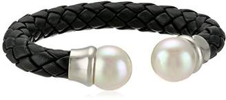 Majorica 14mm Round Pearl On A Black Braided Leather Bangle Bracelet
