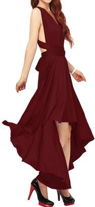 IBTOM CASTLE Women's Retro Floral Lace Cap Sleeve Vintage Swing Bridesmaid Dress M