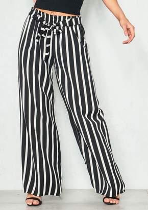 edb3da792db2 Missy Empire Missyempire Josephine Black Stripe Crepe Wide Leg Trousers