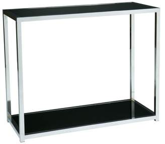 Office Star AVE-SIX by Products Yield Foyer Table. Chrome and Black Glass