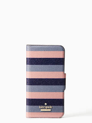 Kate Spade Glitter stripe iphone 7 & 8 wrap folio case
