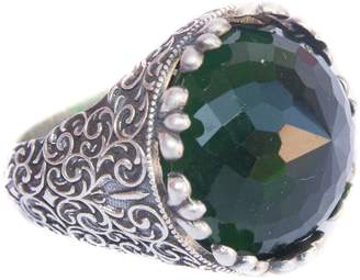 Express Falcon Jewelry Sterling silver mens ring, created-emerald stone, handmade, Shipping