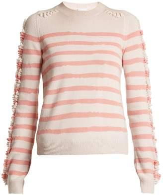 BARRIE Stripe loop stitch knit cashmere sweater