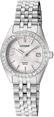 Citizen EU6060-55D Stainless Steel Quartz Date Watch in Silver