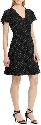 Chaps Dotted Fit--Flare Dress