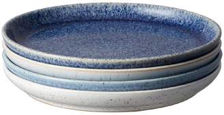 Denby Studio Blue Stoneware 4-Piece Coupe Tea Plate Set