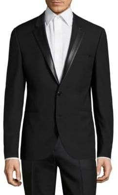 HUGO BOSS Faux Leather-Trimmed Virgin Wool Suit Jacket