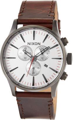 Nixon 42mm Sentry Chrono Leather Watch, Brown