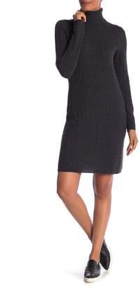 Sofia Cashmere Cable Knit Cashmere Turtleneck Dress