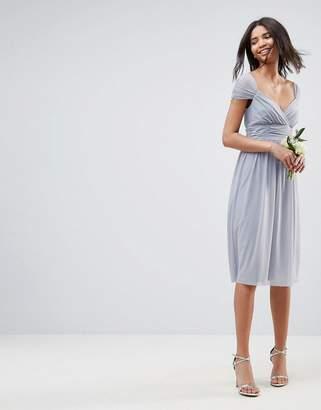 Asos Design Bridesmaid Ruched Mesh Panelled Midi Dress