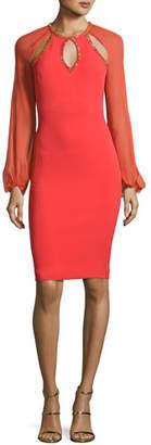Jenny Packham Beaded-Trim Cutout Cocktail Dress, Salsa $2,400 thestylecure.com