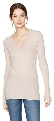 Enza Costa Women's Cmere Long Sleeve Cuffed V-Neck Top with Thumbhole